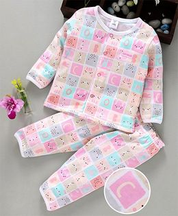 ToffyHouse Full Sleeves Night Suit Alphabet Print - Multicolour