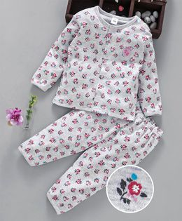 ToffyHouse Full Sleeves Night Suit Rose Print - Grey