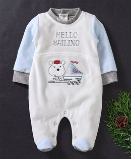 Wonderchild Hello Sailing Embroidered Full Sleeves Footie Romper - White