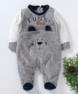 Wonderchild Funny Bear Design Full Sleeves Footie Romper - Grey