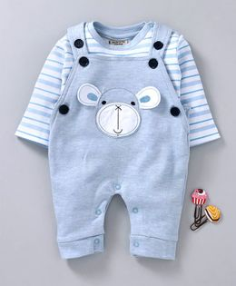Wonderchild Striped Full Sleeves Dungaree Style Romper With Tee - Blue & White
