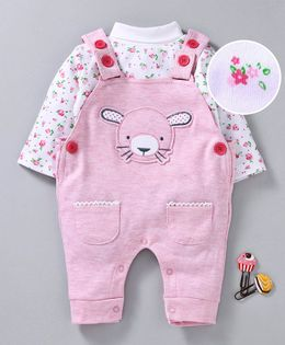 Wonderchild Flower Print Full Sleeves Tee With Dungaree Style Romper - Pink