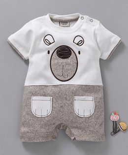 Wonderchild Bear Face Patch Half Sleeves Romper - Brown