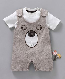 Wonderchild Bear Face Patch Dungaree Style Half Sleeves Romper With Tee - Brown & White