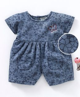 Wonderchild Flower Print Short Sleeves Jumpsuit - Blue