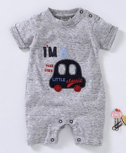 Wonderchild Half Sleeves Car Patch Romper - Grey