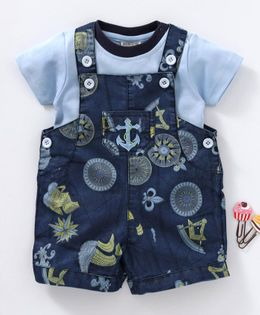 Wonderchild Printed Dungaree With Short Sleeves Tee - Blue