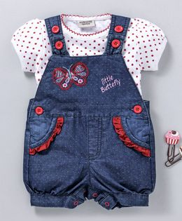 Wonderchild Polka Dot Print Short Sleeves Tee With Dungaree Style Romper - White & Blue