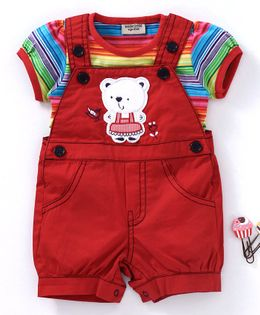Wonderchild Striped Short Sleeves Tee With Dungaree Style Romper - Red