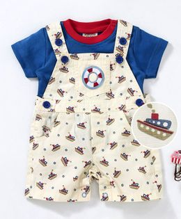 Wonderchild Ship Printed Dungaree With Short Sleeves Tee - Cream
