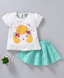 Wonderchild Girl Print Cap Sleeves Top & Skirt Set - White & Green