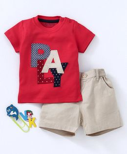 Wonderchild Play Patch Short Sleeves Tee & Short Set - Red