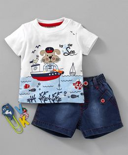 Wonderchild Under Water Print Short Sleeves Tee & Short Set - White & Blue