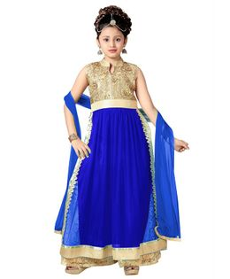 Aarika Flower Embroidered Sleeveless Kurti With Palazzo & Dupatta Set - Blue