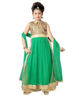 Aarika Flower Embroidered Sleeveless Kurti With Palazzo & Dupatta Set - Green