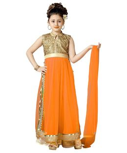 Aarika Flower Embroidered Sleeveless Kurti With Palazzo & Dupatta Set - Orange