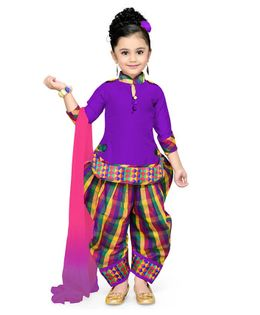 Aarika Long Sleeves Kurti With Checks Salwar & Dupatta Set - Purple