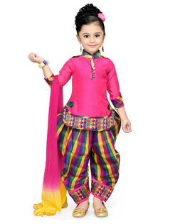 Aarika Long Sleeves Kurti With Checks Salwar & Dupatta Set - Pink
