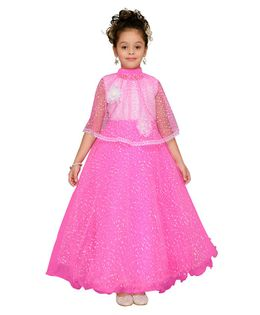 Aarika Flower Applique Half Sleeves Cape With Gown - Pink