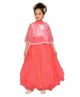 Aarika Gown With Flower Applique Half Sleeves Cape - Orange