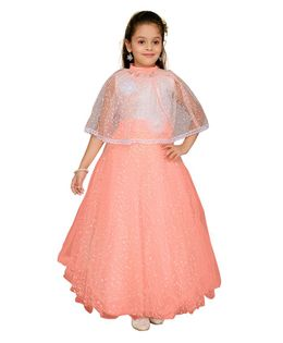 Aarika Gown With Flower Applique Half Sleeves Cape - Peach