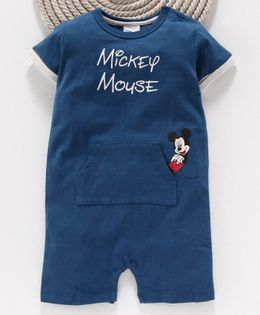 Fox Baby Short Sleeves Romper Mickey Mouse Print - Royal Blue