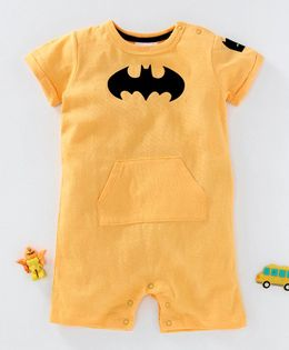 Fox Baby Short Sleeves Romper Batman Print - Yellow