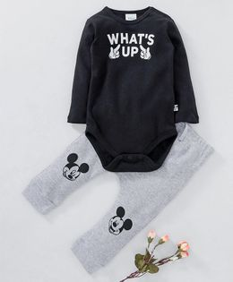 Fox Baby Full Sleeves Onesie And Lounge Pant What's Up Print - Black
