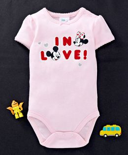 Fox Baby Half Sleeves Onesie Mickey & Minnie Mouse Print - Light Pink