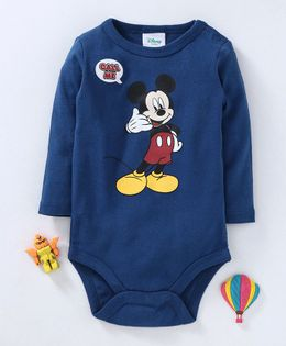 Fox Baby Full Sleeves Onesie Mickey Mouse Print - Blue