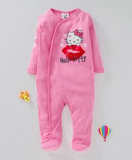 Fox Baby Full Sleeves Footed Rompers Hello Kitty Print - Pink