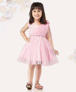 Mark & Mia Sleeveless Frock With Embellished Waist Line - Light Pink