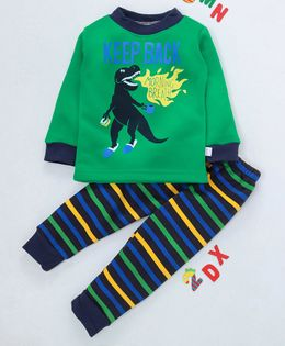 Kookie Kids Full Sleeves Night Suit Dinosaurs Print - Green