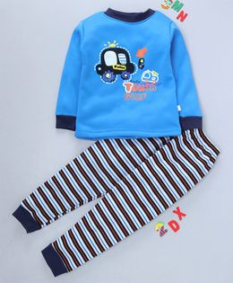 Kookie Kids Full Sleeves Night Suit Car Print - Blue