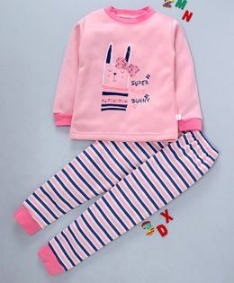 Kookie Kids Full Sleeves Night Suit Kitty Print - Pink