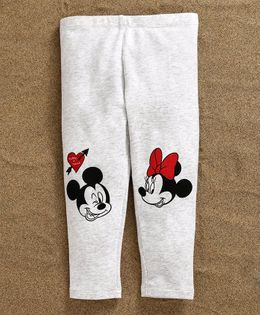 Fox Baby Full Length Leggings Mickey & Minnie Mouse Print - Light Grey