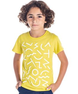 Cherry Crumble California Abstract Print Half Sleeves T-Shirt - Yellow