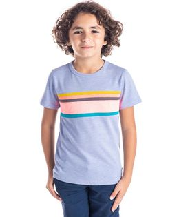 Cherry Crumble California Striped Half Sleeves T-Shirt - Light Blue