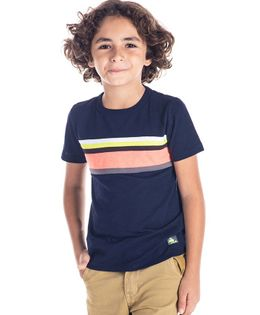Cherry Crumble California Striped Half Sleeves T-Shirt - Dark Blue