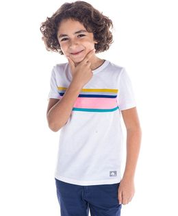 Cherry Crumble California Striped Half Sleeves T-Shirt - White