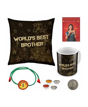 Little India Fancy Print Cushion And Mug With Rakhi