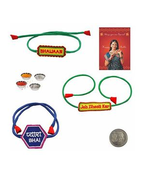 Little India Jeb Dhili Kar Pyara Bhaijan Rakhi Set of 3 - Green And Blue