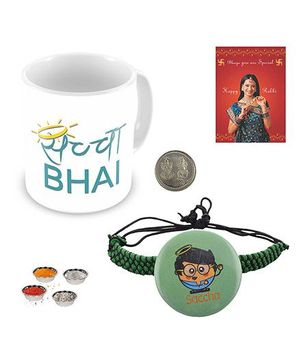 Little India Saccha Bhai Coffee Mug With Rakhi - White And Green