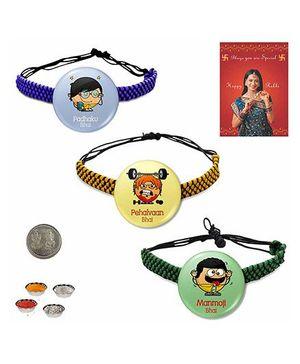 Little India Modern Design Badge Rakhi Multicolor - Pack of 3