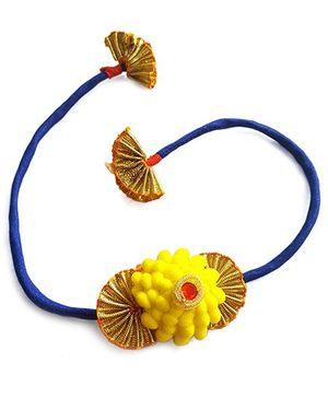 Soulfulsaai Rosette Gota Rakhi - Yellow & Golden
