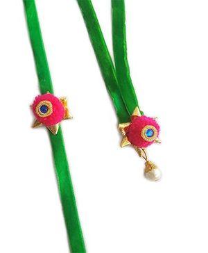 Soulfulsaai Bhaiya Bhabhi Pompom Rakhi - Pink & Green