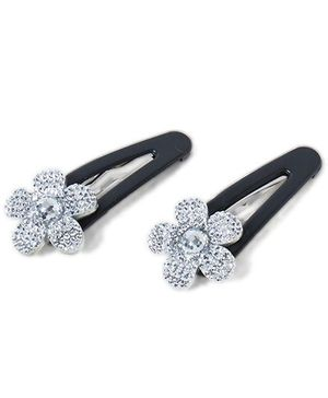 Treasure Trove Sparkling Tiny Flower  Snap Clips Pack of 2 - Silver