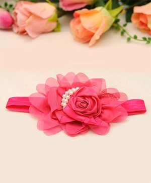 Akinos Kids Pearl & Rose Headband - Fuchsia