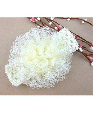 Akinos Kids Flower Knitted Crochet Headband - Off White