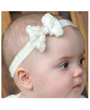 Akinos Kids Bow Flower Headband - White